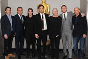 "(L-R) Writer Dan Futterman, actor Steve Carell, producer Megan Ellison, director/producer Bennett Miller, actress Vanessa Redgrave, actor Channing Tatum, and producer Jon Kilik attend The Academy of Motion Picture Arts and Sciences hosts an official academy members screening of ""Foxcatcher"" at The Academy Theatre at Lighthouse International on November 11, 2014 in New York City."