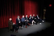 """(L-R) Moderator Joe Neumaier, director Dexter Fletcher, actors Taron Egerton, Jamie Bell, Bryce Dallas Howard, Richard Madden and producer Matthew Vaughn on stage during The Academy of Motion Picture Arts and Sciences official screening of """"Rocketman"""" at the MoMA, Celeste Bartos Theater on May 29, 2019 in New York City."""