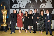 (L-R) Ferzan Ozpetek, Valeria Bruni Tedeschi, Mía Maestro, Dawn Hudson, David Rubin, Valeria Golino and Carlo Verdone attend Academy  of Motion Picture, Arts and Sciences and Istituto Luce - Cinecittà Event at Palazzo Barberini on October 08, 2019 in Rome, Italy.