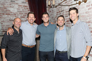 (L-R) Guest, Dallas Clark, Steven Matz, Jacob deGrom and David Wright attend Private Dinner Honoring David Wright at TAO Downtown on September 30, 2018 in New York City.