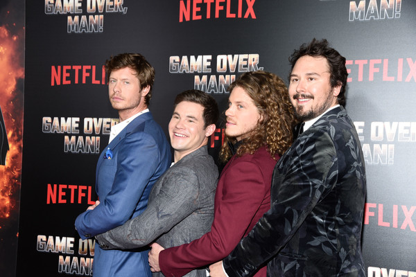 Premiere Of Netflix's 'Game Over, Man!' - Arrivals [game over,premiere,movie,event,fictional character,arrivals,man,blake anderson,kyle newacheck,adam devine,anders holm,netflix,premiere,premiere]