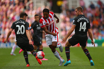 Adam Lallana Jordan Henderson Stoke City v Liverpool - Premier League