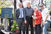 (L-R) Adrian Benepe, Noel Yauch, Frances Yauch and Adam Horovitz attend the renaming of Palmetto Playground as Adam Yauch Park on May 3, 2013 in the Brooklyn borough of New York City. Beastie Boy Adam Yauch died of salivary gland cancer on Friday, May 4, 2012 at the age of 47.