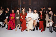 Actors Zoe Chao, Nesta Cooper, Molly Gordon, Angela Sarafyan, Dove Cameron, Jamie Chung and Calu Rivero attend the Adeam fashion show during February 2020 - New York Fashion Week: The Shows at The Highline Hotel on February 10, 2020 in New York City.
