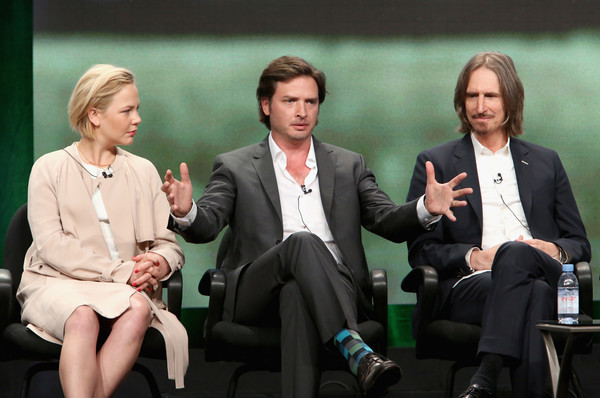 SundanceTV TCA Panel for 'Rectify' [event,conversation,sitting,white-collar worker,business,job,ray mckinnon,actors,creator,writer,aden young,l-r,portion,sundancetv tca panel for ``rectify,executive producer,panel discussion]