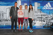 (L-R) Tomas Berdych of the Czech Republic, Caroline Wozniacki of Denmark, Andrea Petkovic of Germany and Ana Ivanovic of Serbia pose during the adidas ACE Case Launch at Crown Entertainment Complex on January 14, 2016 in Melbourne, Australia.