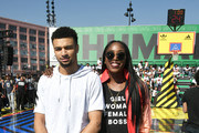 Jamal Murray (L) and Chiney Ogwumike at adidas Creates 747 Warehouse St. - an event in basketball culture on February 17, 2018 in Los Angeles, California.