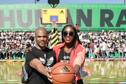 Darryl McDaniels, 'DMC', (L) and Chiney Ogwumike at adidas Creates 747 Warehouse St. - an event in basketball culture on February 17, 2018 in Los Angeles, California.