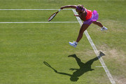 Sabine Lisicki of Germany in action in her quarter final match over Daniela Hantuchova of Slovakia on day five of the Aegon Classic at Edgbaston Priory Club on June 19, 2015 in Birmingham, England.