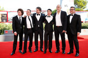 Michel Franco, Alfredo Castro, Lorenzo Vigas, Luis Silva, Guillermo Arriaga and Rodolfo Cova attend a premiere for 'From Afar' during the 72nd Venice Film Festival at Sala Grande on September 10, 2015 in Venice, Italy.