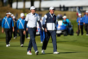Keegan Bradley of the United States and Phil Mickelson of the United States walk up the fairway during the Afternoon Foursomes of the 2014 Ryder Cup on the PGA Centenary course at the Gleneagles Hotel on September 26, 2014 in Auchterarder, Scotland.