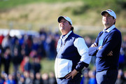 Phil Mickelson (L) and Keegan Bradley of the United States watch on the 7th hole during the Afternoon Foursomes of the 2014 Ryder Cup on the PGA Centenary course at the Gleneagles Hotel on September 26, 2014 in Auchterarder, Scotland.