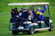 Phil Mickelson of the United States talks to Keegan Bradley of the United States as they are driven away in a golf buggy after the Afternoon Foursomes of the 2014 Ryder Cup on the PGA Centenary course at the Gleneagles Hotel on September 26, 2014 in Auchterarder, Scotland.