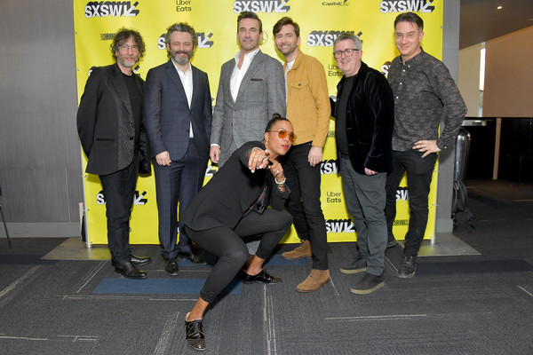 Good Omens: The Nice And Accurate SXSW Event - 2019 SXSW Conference And Festivals [yellow,event,back row,sxsw conference,festivals,neil gaiman,rob wilkins,douglas mackinnon,aisha tyler,actors,executive producer,actor]