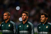 Iker Casillas (R) Pepe (L) and Sergio Ramos (C) of Real line up prior to the UEFA Champions League Group D match between Ajax Amsterdam and Real Madrid at Amsterdam Arena on October 3, 2012 in Amsterdam, Netherlands.