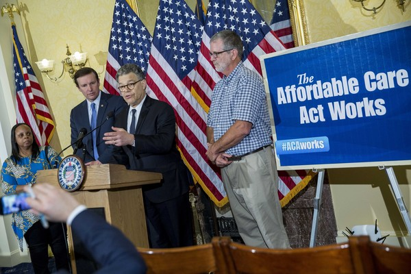 Senators Discuss Affordable Health Care Act Case  [murphy discuss the affordable health care act case being heard at supreme court,affordable care act,event,flag of the united states,flag,flag day usa,official,news conference,employment,government,world,veterans day,al franken,senators franken,chris murphy,d,case,arguments,beneficiaries,supreme court]