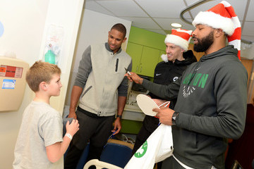 Al Horford Marcus Morris Boston Celtics Sing Holiday Favorites With Patients at Annual Boston Children's Hospital Holiday Visit