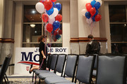 Katie Ford (L) and Gabriel Burke put up balloons as they prepare the room for the arrival of Republican Senatorial candidate Roy Moore for his election night party in the RSA Activity Center on December 12, 2017 in Montgomery, Alabama. Mr. Moore is facing off against Democrat Doug Jones in the special election for the U.S. Senate.