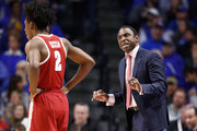 Avery Johnson the head coach of the Alabama Crimson Tide gives instructions to his team against the Kentucky Wildcats  at Rupp Arena on February 17, 2018 in Lexington, Kentucky.