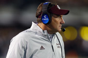 Head coach Dan Mullen of the Mississippi State Bulldogs watches during the second half of an NCAA football game against the Alabama Crimson Tide at Davis Wade Stadium on November 11, 2017 in Starkville, Mississippi.