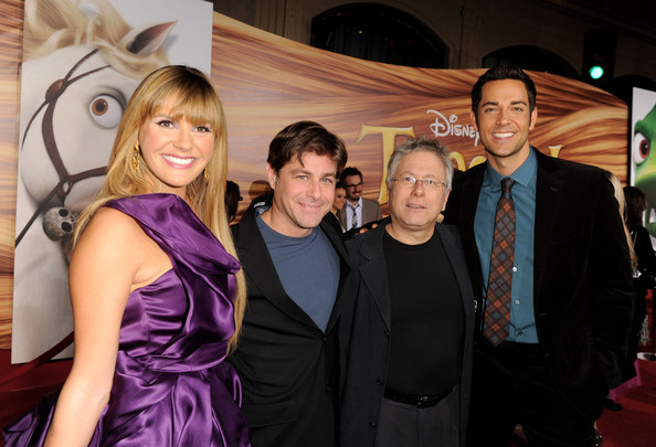 "Alan Menken (L-R) Singer Grace Potter, lyricist Glenn Slater, composer Alan Menken and actor Zachary Levi arrive at the premiere of Walt Disney Pictures' ""Tangled"" at the El Capitan Theater on November 14, 2010 in Los Angeles, California."
