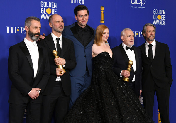 77th Annual Golden Globe Awards - Press Room [event,premiere,award,suit,formal wear,white-collar worker,jeremy strong,alan ruck,brian cox,sarah snook,nicholas braun,jesse armstrong,l-r,room,press room,golden globe awards,alan ruck,brian cox,photography,celebrity,actor,image,american film institute awards,american film institute,golden globe awards]