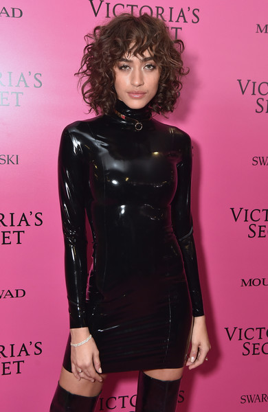 2017 Victoria's Secret Fashion Show In Shanghai - After Party [latex clothing,clothing,dress,latex,lip,hairstyle,pink,fashion,little black dress,magenta,alanna arrington,shanghai,china,mercedes-benz arena,party,victorias secret fashion show]