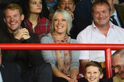 TV Presenter Helen Chamberlain with friends watch the match during the FA Cup Qualifying Fourth Round match bteween Aldershot Town and Torquay United at The Electrical Services Stadium on October 25, 2014 in Aldershot, England.
