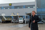 """Aled Jones boards a FLYBE flight before launching his new Christmas album """"One Voice At Christmas"""" by performing Walking In The Air and Christmas carols for passengers at 18,000ft on a FLYBE service between London and Cardiff on October 13, 2016 in London, United Kingdom."""