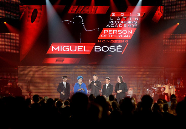 2013 Latin Recording Academy Person Of The Year Honoring Miguel Bose - Show [latin recording academy person of the year,miguel bose - show,stage,performance,red,concert,rock concert,crowd,event,performing arts,music venue,talent show,juanes,lucia bose,alejandro sanz,miguel bose,chairman,honoree,l-r,latin recording academy]