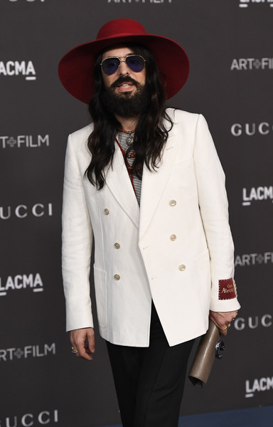 2019 LACMA Art And Film Gala Presented By Gucci - Arrivals [clothing,suit,facial hair,outerwear,fashion,formal wear,eyewear,beard,hat,headgear,arrivals,alessandro michele,los angeles,california,gucci,lacma art film gala,lacma 2019 art film gala]