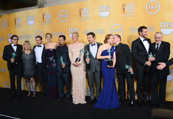 20th Annual Screen Actors Guild Awards - Press Room [event,yellow,award,management,businessperson,tourism,ceremony,award ceremony,company,team,david o. russell,actors,winners,cast,colleen camp,alessandro nivola,l-r,room,press room,screen actors guild awards]