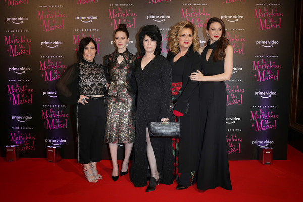 Premiere Of 'The Marvelous Mrs. Maisel' Season 2 In Milan [the marvelous mrs. maisel s2,red carpet,carpet,event,premiere,flooring,fashion design,formal wear,black hair,alex borstein,caroline aaron,amy sherman-palladino,rachel brosnahan,marin hinkle,l-r,milan,cinema odeon,event]