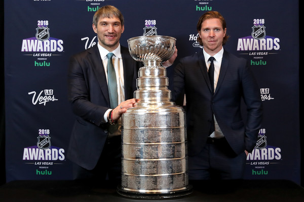 2018 NHL Awards [games,trophy,competition event,award,championship,alex ovechkin,nicklas backstrom,nhl awards,hulu,press room,las vegas,nevada,hard rock hotel casino,washington capitals,stanley cup]
