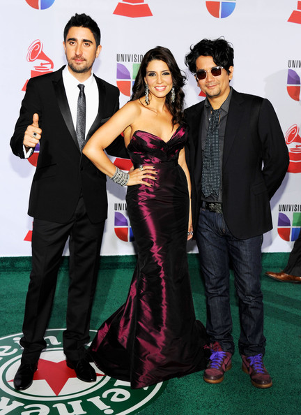 The 12th Annual Latin GRAMMY Awards - Arrivals [carpet,formal wear,red carpet,suit,dress,premiere,event,flooring,tuxedo,gown,arrivals,alex ubago,alex jorge y lena,jorge villamizar,lena burke,l-r,las vegas,nevada,band,latin grammy awards]