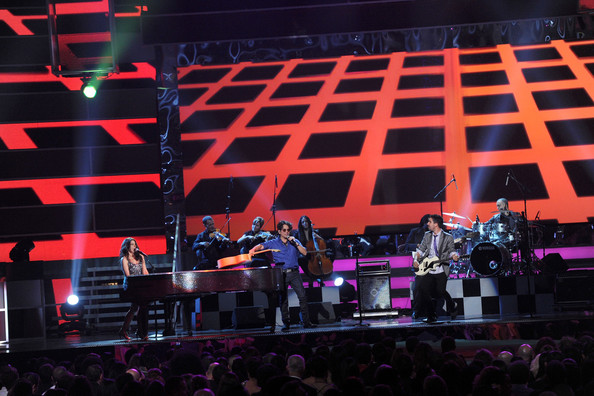 The 12th Annual Latin GRAMMY Awards - Show [performance,stage,entertainment,concert,performing arts,music,event,public event,display device,music venue,las vegas,nevada,mandalay bay events center,latin grammy awards,show,alex jorge y lena]