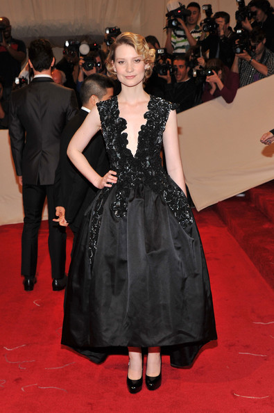 """Actress Mia Wasikowska attends the """"Alexander McQueen: Savage Beauty"""" Costume Institute Gala at The Metropolitan Museum of Art on May 2, 2011 in New York City."""