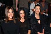 Carine Roitfeld, Julia Restoin-Roitfeld, and Linda Evangelista attend the Alexander Wang Spring 2012 fashion show during Mercedes-Benz Fashion Week at Pier 94 on September 10, 2011 in New York City.