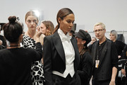 Joan Smalls prepares backstage before the Alexandre Vauthier Haute Couture Spring/Summer 2020 show as part of Paris Fashion Week on January 21, 2020 in Paris, France.
