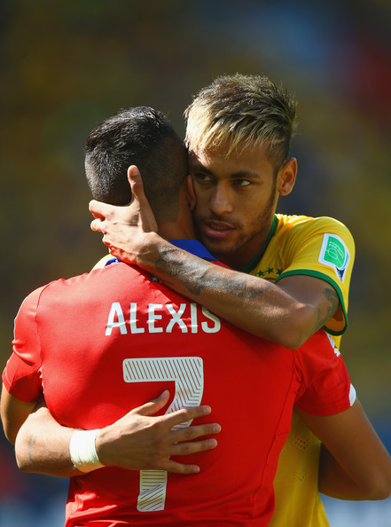 Brazil v Chile: Round of 16 - 2014 FIFA World Cup Brazil [player,football player,sports,team sport,sports equipment,ball game,championship,world,soccer,games,neymar,alexis sanchez,brazil,chile,estadio mineirao,belo horizonte,round,2014 fifa world cup,round,match]