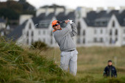 Former South African cricketer Mark Boucher plays his second shot on the second hole during the first round of the Alfred Dunhill Links Championship on the Championship Links on September 26, 2013 in Carnoustie, Scotland.