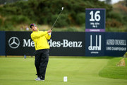Mark Boucher plays off the 16th tee during the second round of the 2014 Alfred Dunhill Links Championship at the Championship Links at Carnoustie on October 3, 2014 in Carnoustie, Scotland.