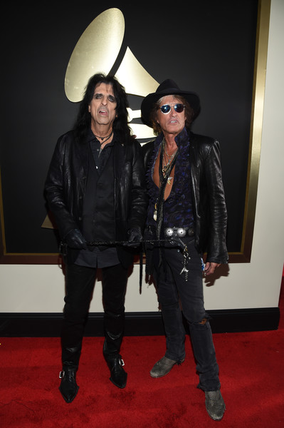 The 58th GRAMMY Awards - Red Carpet [red carpet,clothing,leather,leather jacket,jacket,fashion,textile,outerwear,carpet,event,flooring,alice cooper,joe perry,grammy awards,los angeles,california,staples center,hollywood vampires,l,the 58th grammy awards]