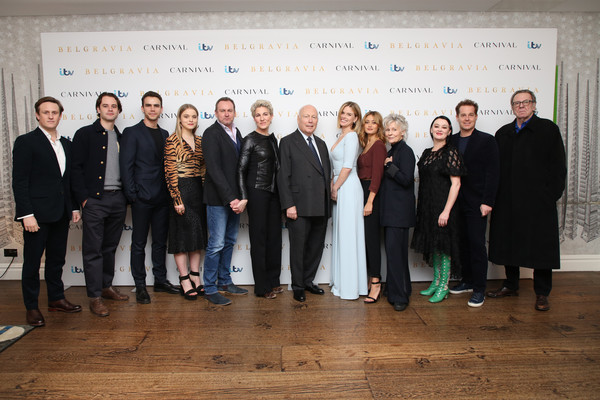 """Belgravia"" - Photocall [event,team,businessperson,white-collar worker,tourism,management,company,richard goulding,jack bardoe,jeremy neumark jones,julian fellowes,ella purnell,alice eve,tamsin greig,photocall,photocall,belgravia,stock photography,tamsin greig,belgravia,actor,photograph,image,television,screenwriter]"