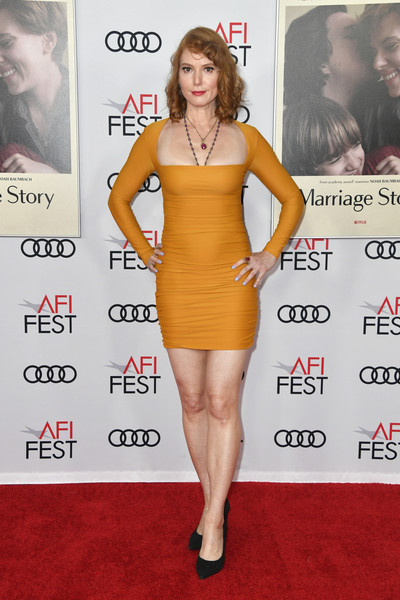 AFI FEST 2019 Presented By Audi – Screening Of 'Marriage Story' – Arrivals [audi -- screening of ``marriage story,marriage story,dress,clothing,cocktail dress,shoulder,premiere,yellow,leg,carpet,joint,thigh,arrivals,alicia witt,screening,tcl chinese theatre,california,hollywood,afi fest,audi]