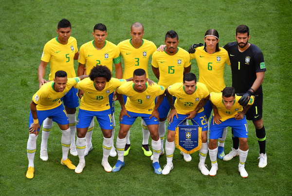 Brazil vs. Mexico: Round of 16 - 2018 FIFA World Cup Russia [team photo,team,team sport,player,football player,soccer player,sport venue,ball game,social group,soccer,sports,russia,mexico,samara arena,brazil,round,2018 fifa world cup,match]