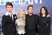 """(L-R) Actors Ansel Elgort, Naomi Watts, Theo James, and Shailene Woodley attend the New York premiere of """"Allegiant"""" at the AMC Lincoln Square Theater on March 14, 2016 in New York City."""