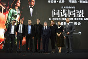 """CEO of Paramount Pictures Brad Grey (4th R),Paramount Pictures President of Worldwide Marketing and Distribution Megan Colligan (3rd R) and Brad Pitt (4th L) attend the press conference for the Paramount Pictures title """"Allied"""" on November 14, 2016 at Shanghai Postal Museum in Shanghai, China."""