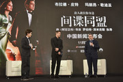 """CEO of Paramount Pictures Brad Grey and Brad Pitt attend the press conference for the Paramount Pictures title """"Allied"""" on November 14, 2016 at Shanghai Postal Museum in Shanghai, China."""