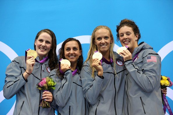Olympics Day 8 - Swimming [social group,youth,team,medal,fun,event,award,smile,recreation,tourism,rebecca soni,missy franklin,allison schmitt,dana volmer,gold medallists,podium,united states,l-r,olympics,medal ceremony]